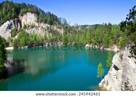 limestone Adrspach rock town and quarry lake - national natural landmark - National park of Adrspach-Teplice rocks