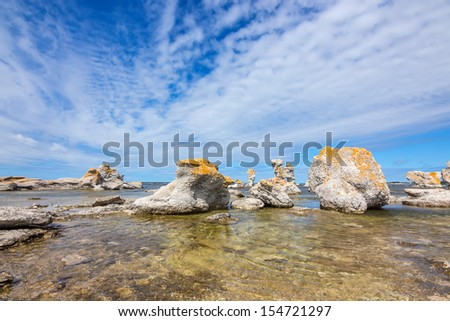 "Limestone formations on Fårö island in Gotland, Sweden. These rocks are locally known as  ""raukar""."