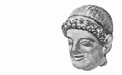 Limestone head of a young man, dating from the 5th century BC. Portrait from Cyprus 5 2003  Banknotes.