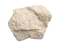 Limestone isolated on white background. Limestone is a sedimentary rock  composed of skeletal fragments of marine organisms.