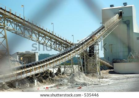 Limestone Mine Conveyors - stock photo