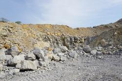 Limestone mining, Open pit mine in Cambodia
