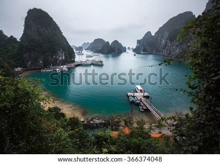 Limestone mountains in Ha Long bay, Vietnam - Shutterstock ID 366374048