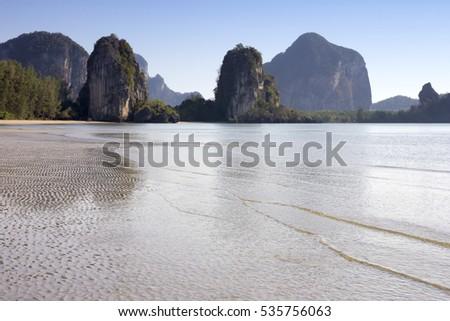 Limestone outcrops on Rajamangala beach, Trang Provinve, Thailand