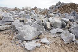 Limestone pile in mining