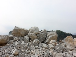 Limestone pile in quarry.