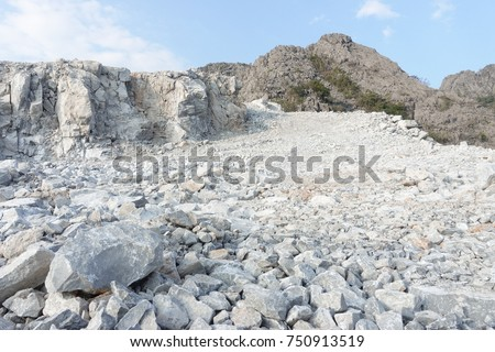 Limestone quarry, Mining.