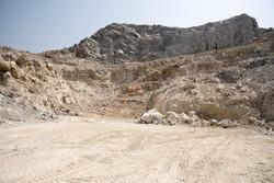 Limestone quarry on the mountain, Vintage tone.