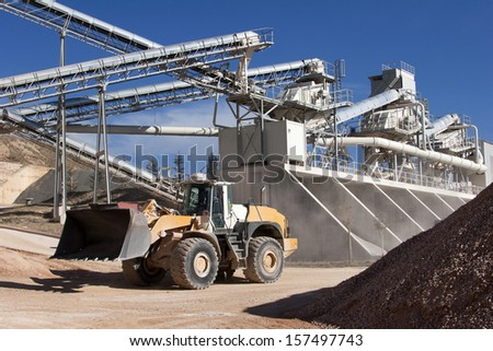 Limestone quarry with modern crushing and screening equipment