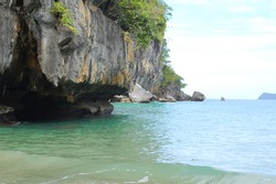 Limestone rock formation with trees and sea scenic nature view at Puerto Princesa, Palawan, Philippines