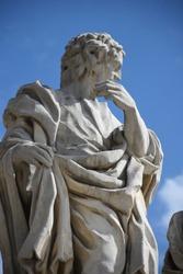 Limestone statue of a saint or sculpture of an apostle designed by Kacper Bażanka, Saints Peter and Paul Church (Kościół Świętych Apostołów Piotra i Pawła w Krakowie), Krakow, Poland