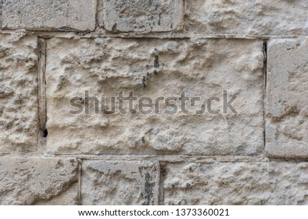 Limestone Wall Closeup in The Ancient City of Matera, Italy European Capital of Culture for 2019 #1373360021