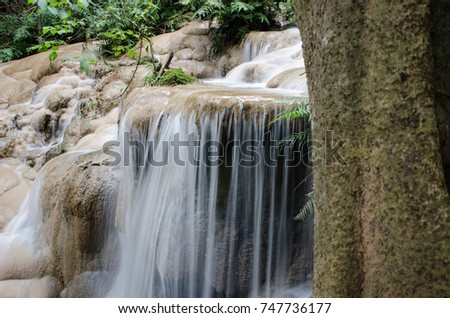 Limestone Waterfall move green water landscape nature forest #747736177
