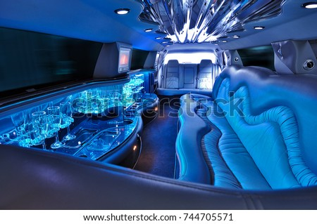 limousine interior with colorful lights without people