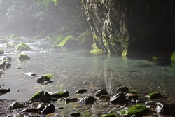 limpid stream of enbara river, Gifu, Japan