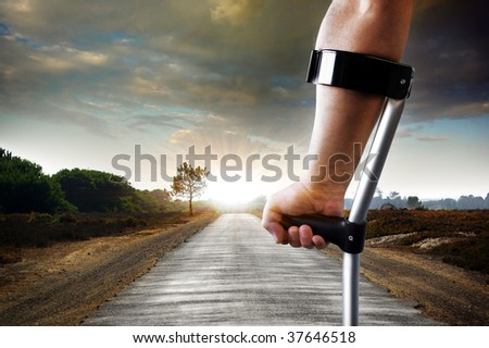 Limping slowly towards the objective - concept - stock photo