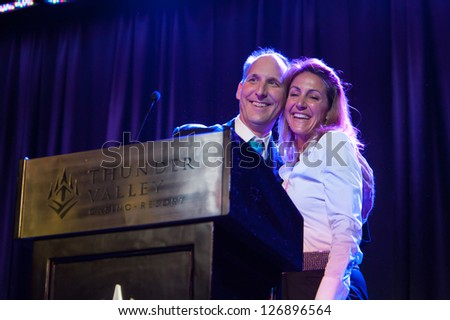 LINCOLN, CA - FEB 2: Summer Sanders accepts award at the Sacramento Sports Hall of Fame at Thunder Valley Casino Resort in Lincoln, California on February 2, 2013