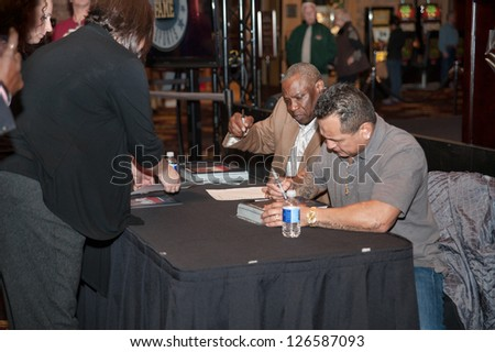 LINCOLN, CA - JAN 30: Dusty Baker(R), Tony Lopez sign autographs at the Sacramento Sports Hall of Fame press conference at Thunder Valley Casino Resort in Lincoln, California on January 30, 2013