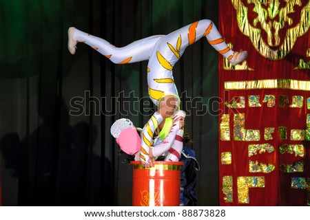 LINCOLN, CA - NOVEMBER 11: Cirque Shanghai's Bai Xi  performs at Thunder Valley Casino and Resort in Lincoln, California on November 11th, 2011