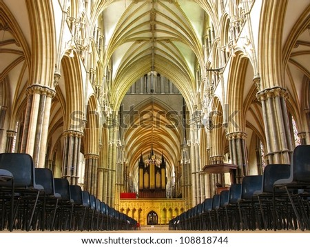 LINCOLN, LINCOLNSHIRE-JULY 3:The nave of Lincoln Cathedral on July 3, 2012. A cathedral of great historic importance with Norman and gothic architecture