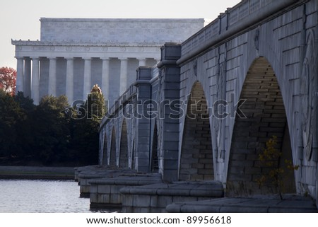 Lincoln Memorial and  Memorial Bridge on Potomac River  Washington DC