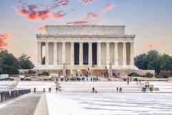 Lincoln memorial and pool at winter sunset, Washington DC, USA