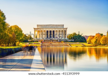 Lincoln memorial and pool in Washington DC, USA Stock photo ©