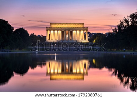 Lincoln Memorial and reflecting pool. Viewed from the World War II Memorial Stock photo ©