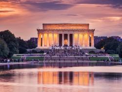 Lincoln memorial at dusk in autumn, Washington D.C.