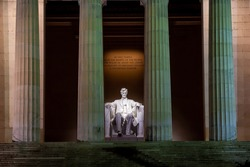 Lincoln Memorial at night in Washington, D.C. United States of America