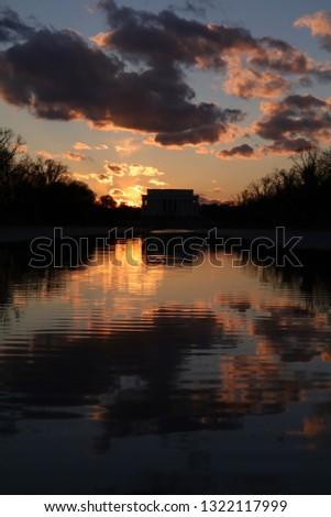 Lincoln Memorial at sunset with reflecting pool #1322117999