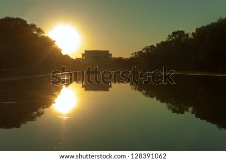 Lincoln Memorial during sunset. Washington DC, USA