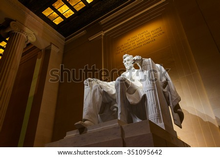 Lincoln Memorial illuminated at night in Washington DC Stock photo ©