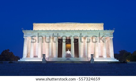 Lincoln Memorial in the National Mall, Washington DC. Lincoln Memorial on blue sky background in the dusk. Stock photo ©