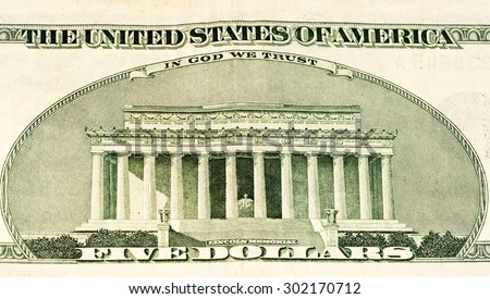 Lincoln Memorial On A 5 Us Dollars Banknote Made In 2003 302170712