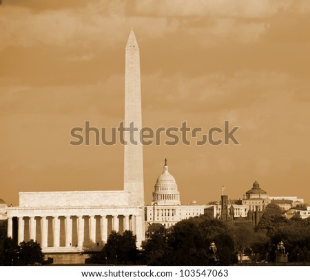 Lincoln Memorial, Washington Monument and Capitol building aligned, DC, United States -sephia