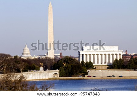 Lincoln Memorial, Washington Monument and Capitol building in line before sunset sunset