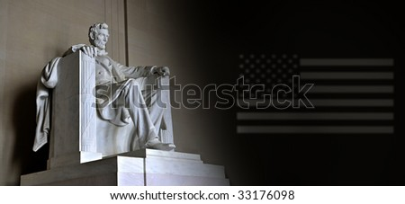 Lincoln Memorial with US flag