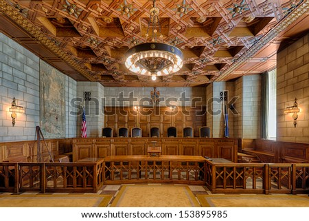 LINCOLN, NEBRASKA - AUGUST 18: An empty State Supreme Court Chamber of the Nebraska State Capitol building on August 18, 2013 in Lincoln, Nebraska
