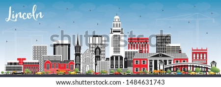 Lincoln Nebraska City Skyline with Color Buildings and Blue Sky. Business Travel and Tourism Concept with Historic Architecture. Lincoln USA Cityscape with Landmarks.