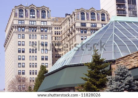 Lincoln Park architecture - apartment buildings and the Conservatory - Chicago, Illinois