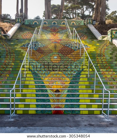 Lincoln Park Steps, Public Stair tiles in Lincoln Park, San Francisco ストックフォト ©
