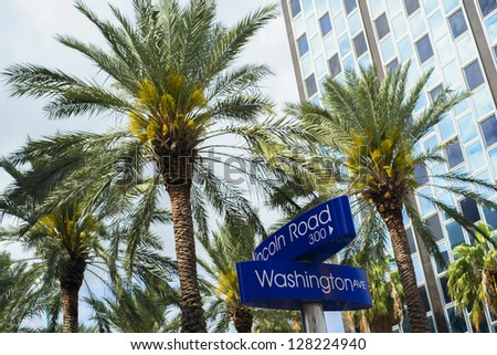 Lincoln Road and Washington Avenue street signs located in Miami Beach.