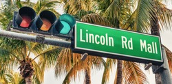 Lincoln Road Mall street sign. It is a famous road of Miami Beach.