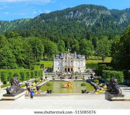 LINDERHOF GERMANY - JULY 8, 2016: Linderhof Palace is a Castle in southwest Bavaria near Garmisch Partenkirchen. The Castle built by King Ludwig II of Bavaria in 19th century. #515085076