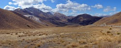Lindis Pass Panorama, Southern Alps, Central Otago. New Zealand