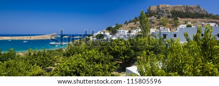 Lindos bay of Rhodes island, panoramic view, Greece