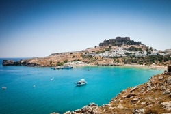 Lindos bay, Rhodes island, Greece