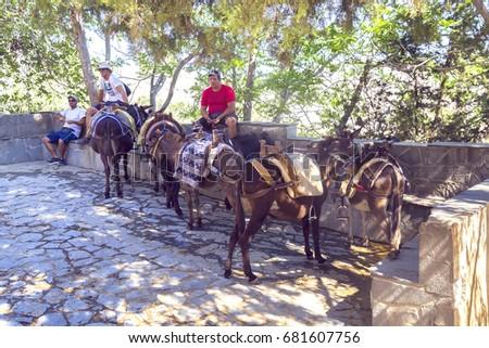 lindos  greece   july 12  2017  ...