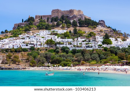 Lindos with the castle above on the Greek Island of Rhodes
